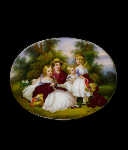 German School, circa 1850 The four eldest daughters of Queen Victoria, wearing white dresses with lilac ribbons, maroon shawls and straw bonnets, holding posies of flowers, gathered in a woodland glade