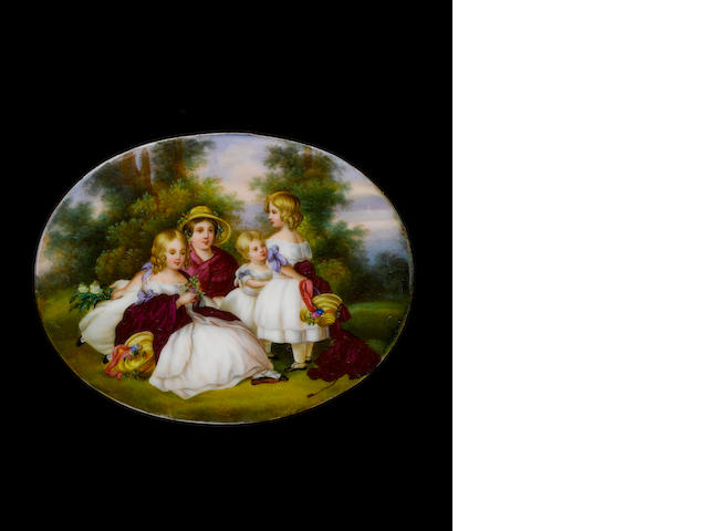 (n/a) German School, circa 1850 The four eldest daughters of Queen Victoria, wearing white dresses with lilac ribbons, maroon shawls and straw bonnets, holding posies of flowers, gathered in a woodland glade