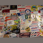 A large collection of motoring stickers and transfers.