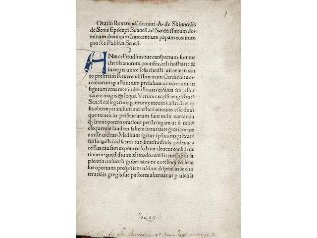 SHINUCIIS (ANDREOCCIUS de) Oratio reverendi domini,