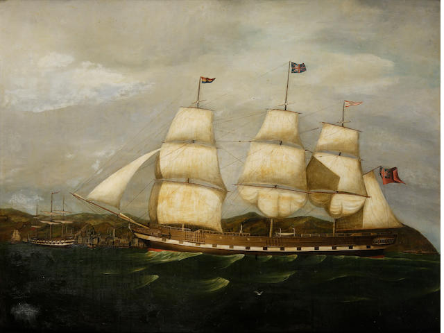 "Scottish School (19th C) The ship ""City of Glasgow"" at full sail passing Gourock"