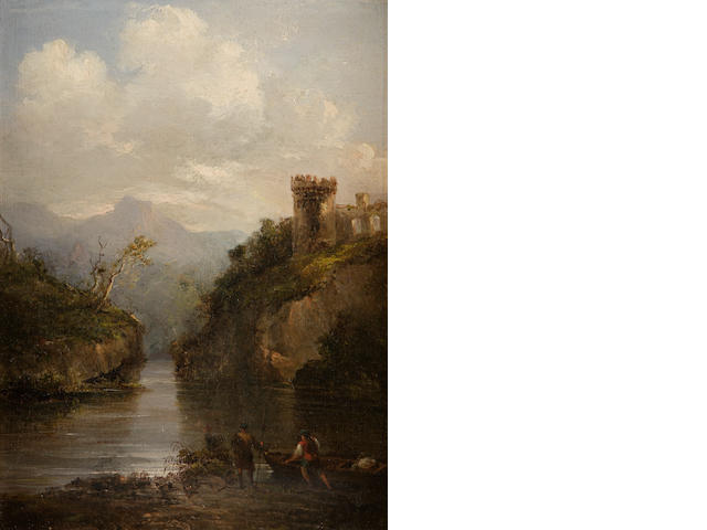Attributed to Horatio MacCulloch, RSA (British, 1805-1867) A Highland Loch and castle