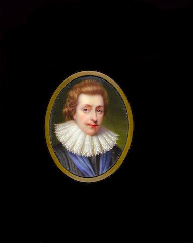 Henry Pierce Bone (British, 1779-1855) George Villiers, Duke of Buckingham (1592-1628), wearing black doublet with blue ribbon and white lace ruff