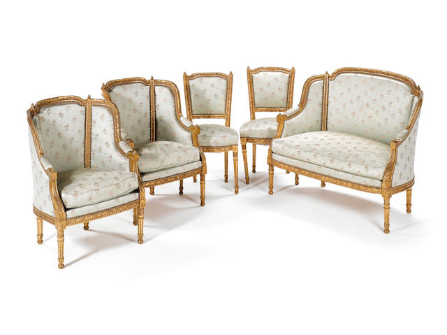 Giltwood Louis XVI style salon set