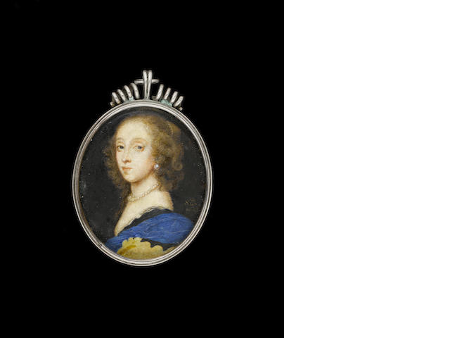 (n/a) Samuel Cooper (British, 1609-1672) A Lady, wearing black dress with white lining, blue cloak, pearl necklace and earring, her brown hair dressed with a strand of pearls