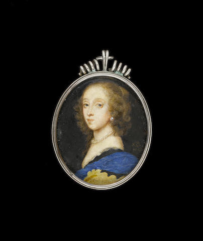 Samuel Cooper (British, 1609-1672) A Lady, wearing black dress with white lining, blue cloak, pearl necklace and earring, her brown hair dressed with a strand of pearls