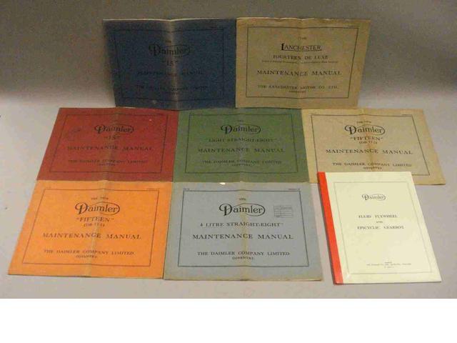 A quantity of 1930s Daimler maintenance manuals,