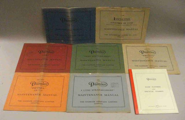 A quantity of 1930s Daimler maintenance manuals,