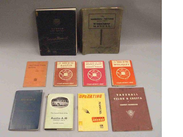 A quantity of car instruction books,