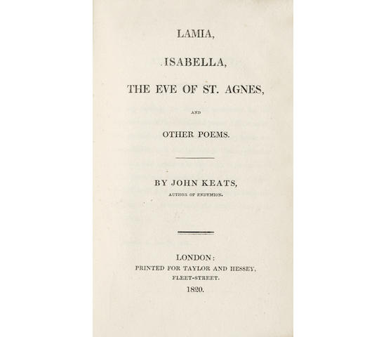 KEATS (JOHN) Lamia, Isabella, The Eve of St. Agnes, and Other Poems