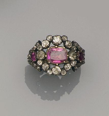 A 19th century ruby and diamond ring