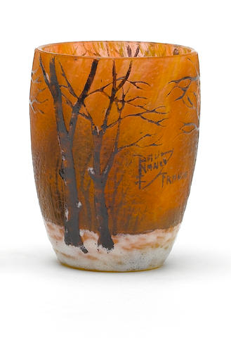 Daum  'Winter Landscape' a miniature acid-etched and enamel glass vase, circa 1900
