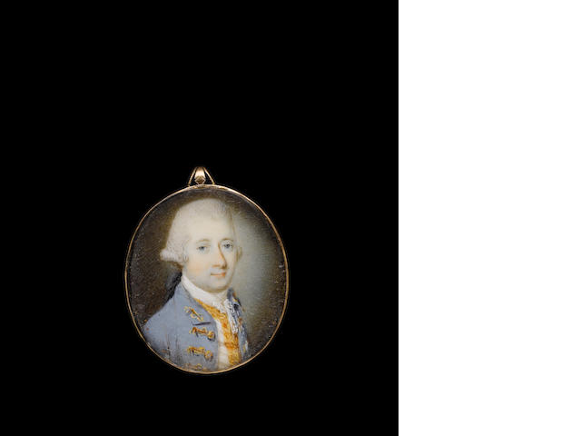 (n/a) Luke Sullivan (Irish, 1705-1771) A Gentleman, wearing mauve coat with gold embroidered button holes, white waistcoat with gold trim, lace cravat and powdered wig worn en queue