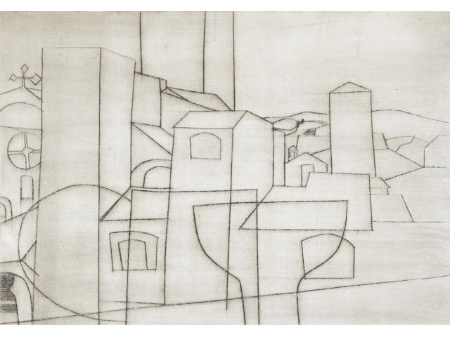 Ben Nicholson O.M. (British, 1894-1982) San Gimignano Drypoint, with plate tone, 1953, on off white