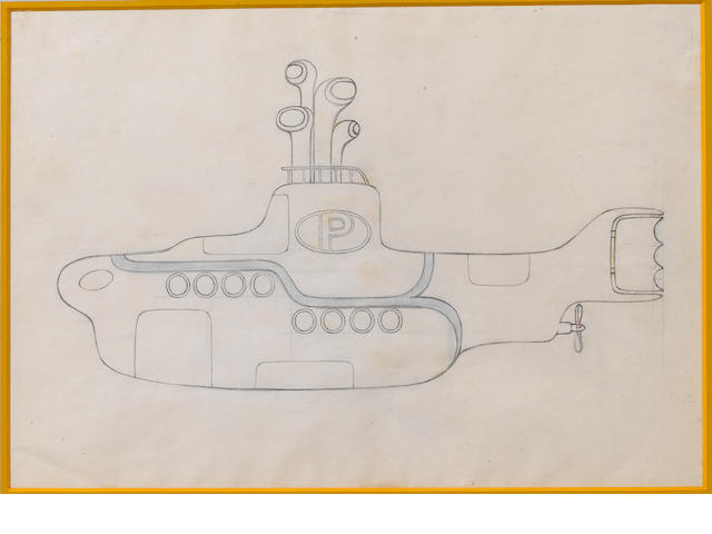 An early 'Yellow Submarine' animation drawing, 1968,