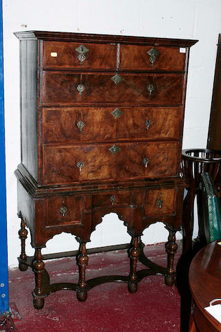 A 17th century and later chest on stand