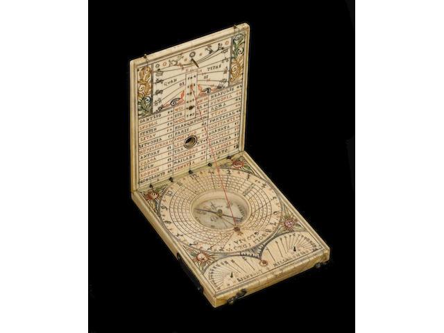 A good Lienhart Miller ivory diptych dial, Nuremberg, dated 1622,