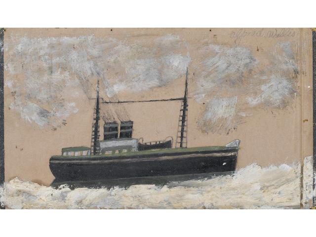 Alfred Wallis (British, 1855-1942) Steamship 18.3 x 31.5 cm. (7 1/4 x 12 1/2 in.)
