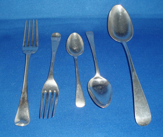 A service of matched George III and George IV flatware various dates and makers  (55)