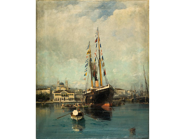 Constantinos Volanakis (Greek, 1837-1907) Departure from Piraeus to Tinos 64 x 52 cm.