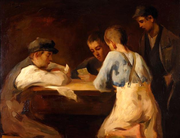 Spyridon Vicatos (Greek, 1874/8-1960) Boys playing cards 73 x 95 cm.