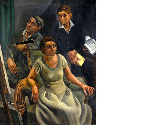 Dimitrios Galanis (Greek, 1880-1966) The painter's family 170 x 130 cm.