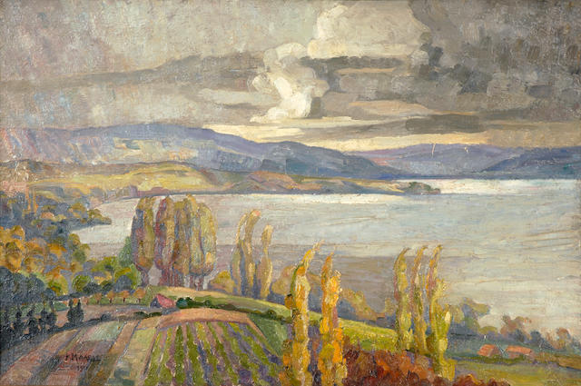 Constantinos Maleas (Greek, 1879-1928) Landscape of Northern Greece (possibly Chalkidiki) 54 x 81 cm.