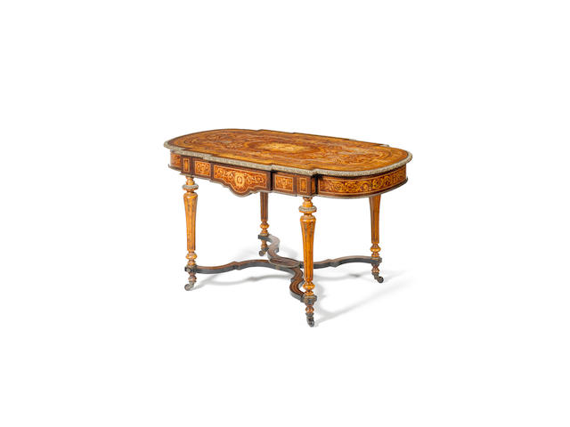 A good Victorian purplewood, thuya, walnut, stained fruitwood and gilt metal mounted marquetry centre table of Louis XVI style