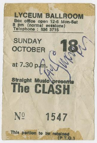 An autographed Clash concert poster and ticket, Radio Clash Tour, Lyceum Ballroom, London, October 1981,