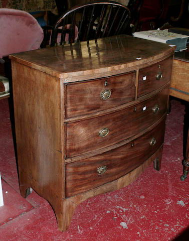 A 19th Century crossbanded bow fronted chest