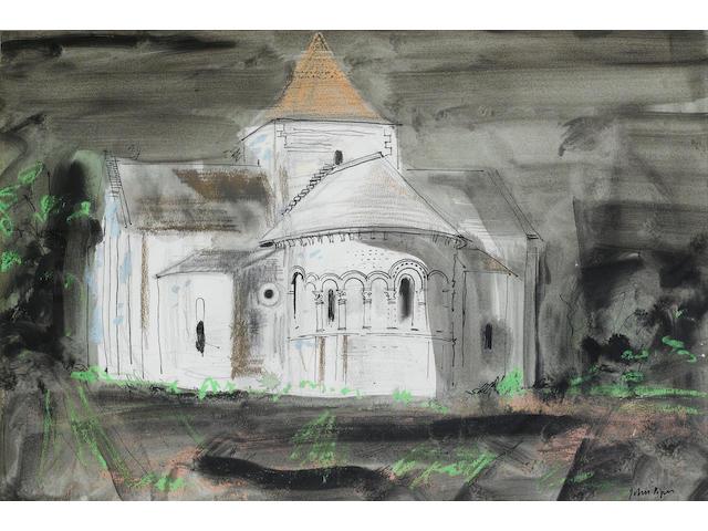 John Piper C.H. (British, 1903-1992) Lichères, Charente 38 x 57 cm. (15 x 22 1/2 in.) (Painted in 1974)