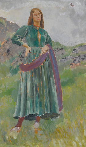 Augustus John O.M., R.A. (British, 1878-1961) Lily in the Welsh hills 76.5 x 46.5 cm. (30 x 18 1/4 i