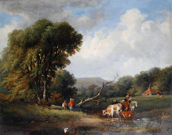 George Shalders (British, 1826-1873) Figures and cattle resting beside a pond
