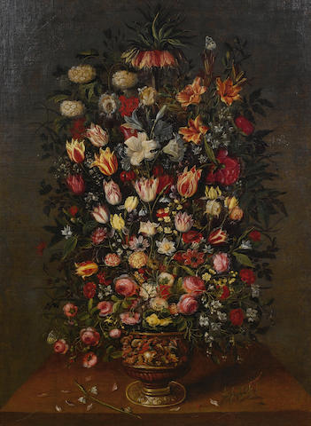 Studio of Jan Brueghel the Younger (Antwerp 1601-1678) Lilies, tulips, narcissi, roses and other flowers