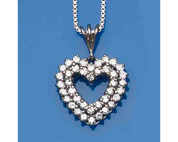 Two heart-shaped diamond pendant necklaces (2)