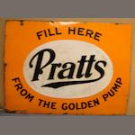 A Pratts From The Golden Pump enamel sign,