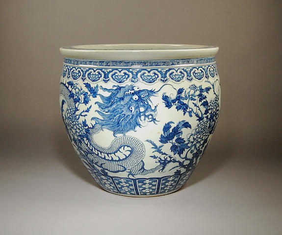 A massive Chinese blue and white jardinière Late 19th Century