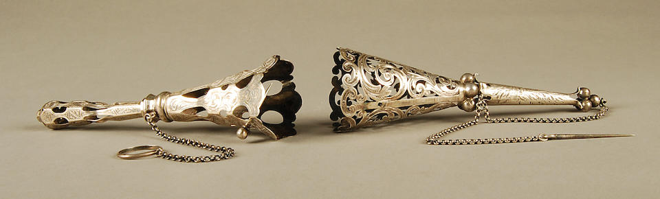 A late nineteenth century posy holder, apparently unmarked  (2)