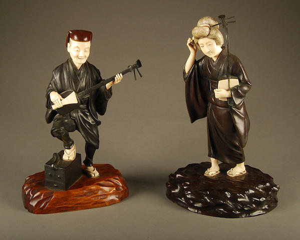 Two Japanese bronze and ivory figures Meiji Period