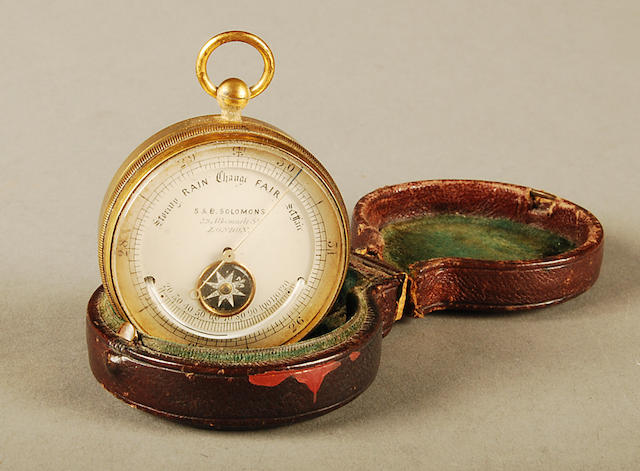 A brass-cased pocket barometer S. & B. Solomons, 39 Albemarle St., London, circa 1900