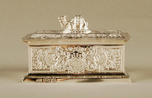 Worshipful Company of Grocers: A miniature Freedom casket by John Marshall Spink, London 1897,