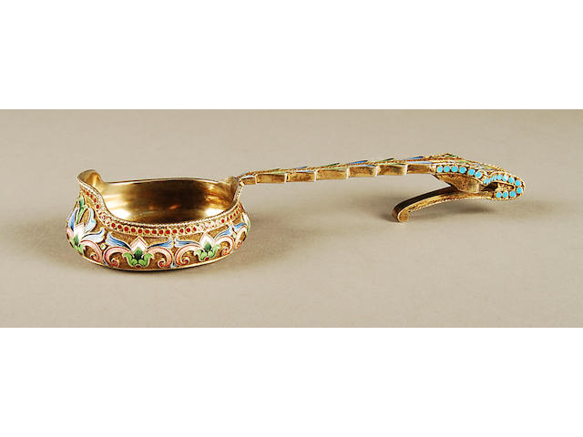 A Russian pair of silver-gilt and enamelled spoons, together with a Faberge, Moscow box bearing 1896-1908 control marks