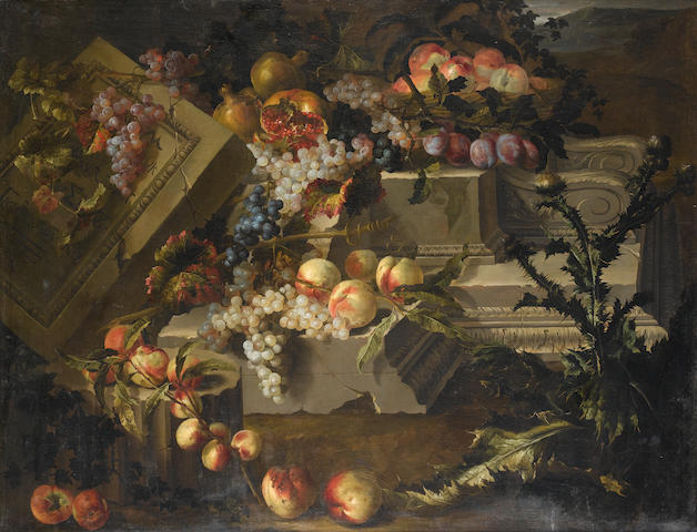 Attributed to Pierre Dupuis (Montfort-l'Amaury 1610-1682 Paris) Peaches, grapes, plums and pomegrana
