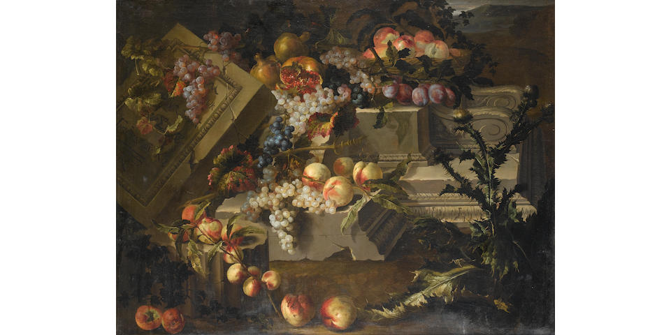 Pierre Dupuis (Montfort-l'Amaury 1610-1682 Paris) Peaches, grapes, plums and pomegranates
