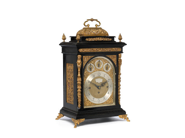 A late 19th century ebonised quarter chiming bracket clock Smith & Sons, clock manufacturers to her