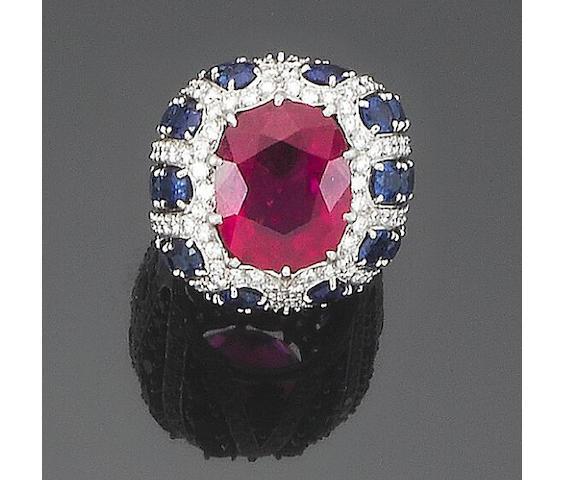 A pink tourmaline, sapphire and diamond dress ring