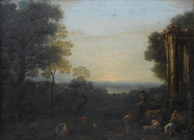John Wootton (Snitterfield circa 1682-1764 London) An Italianate landscape at dusk