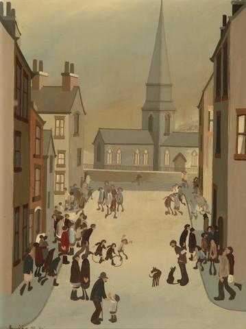 Brian Shields  (Braaq) (British, 1951-1997) 'Northern Scene' - Church at the end of a street