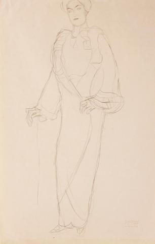 Gustav Klimt (Austrian, 1862-1918) Stehend von vorne, die rechte aufgestützt, 1911