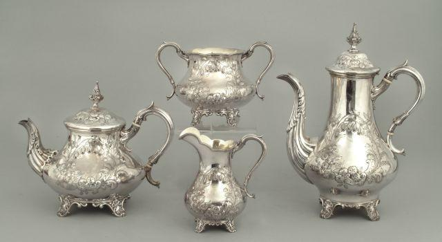 A Victorian four-piece tea service by Hawksworth Eyre and Co, Sheffield 1857